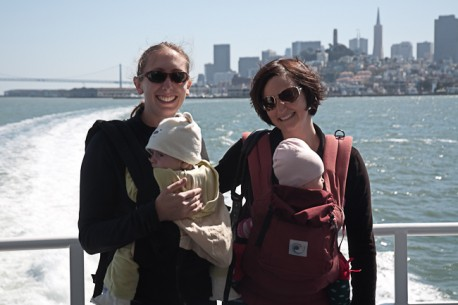 Jody and Shayna with the girls on the Tiburon ferry